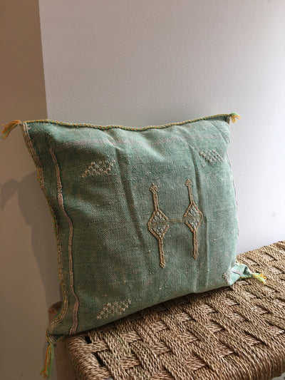 green moroccan sabra cushion with tribal designs