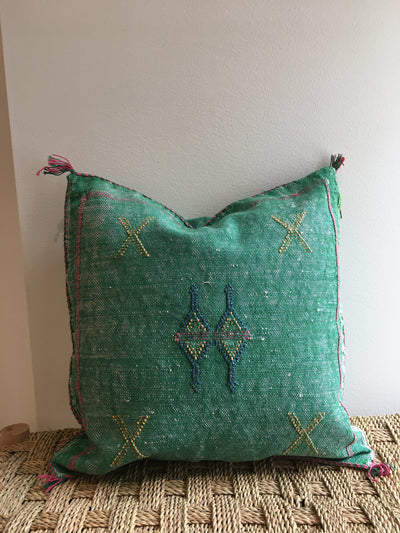 square green sabra pillow with colorful design