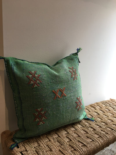 green cactus silk cushion cover with red details
