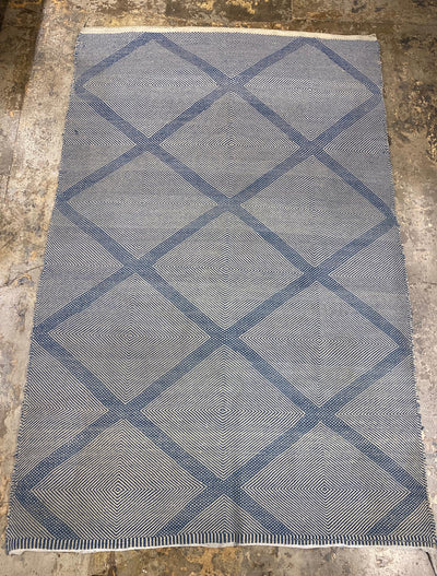 blue and white large area kilim rug