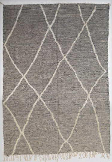 large gray kilim carpet with white wool diamonds and white tassels