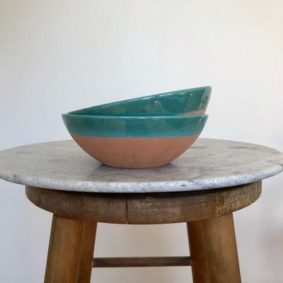 large blue terracotta bowl