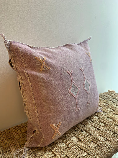 moroccan purple cactus silk pillow