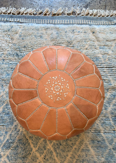 Leather Ottoman Moroccan Handmade Pouf