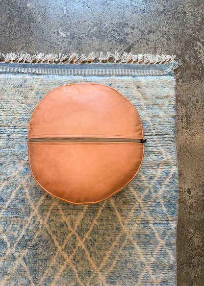 Leather Ottoman Moroccan Handmade Pouf Natural