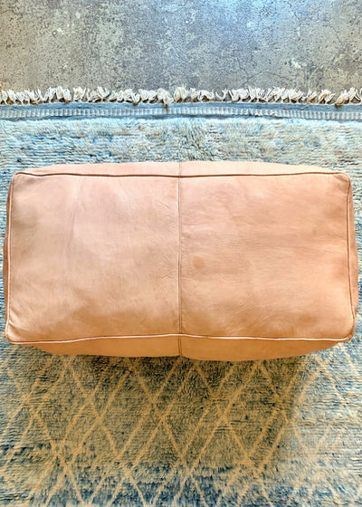 Leather Ottoman Long Moroccan Handmade Pouf Natural
