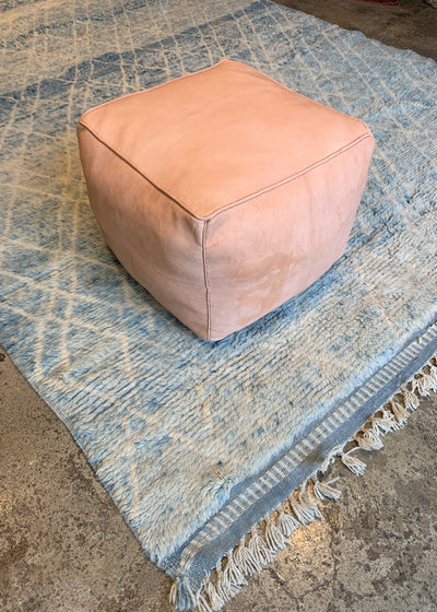 Nude Leather Ottoman Moroccan Pouf