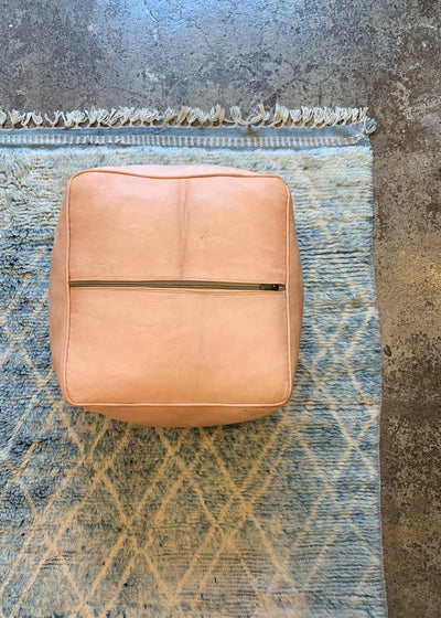 Leather Ottoman Square Moroccan Handmade Pouf Nude