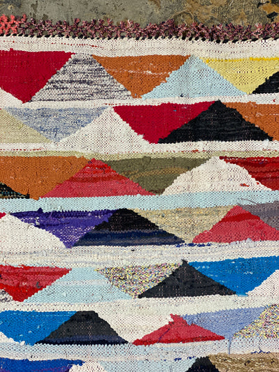 moroccan kilim boucherouite rug with triangles and stripes
