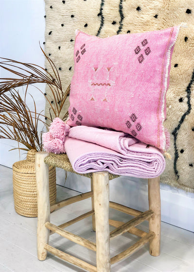 pink cactus silk cushion