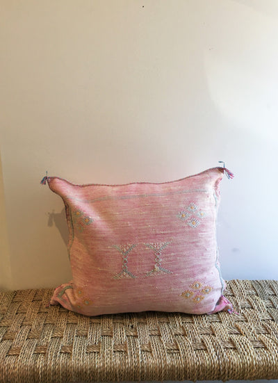 light pink square cactus silk pillow