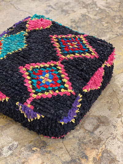 multicolored vintage ottoman, floor cushion, moroccan pouf, cotton floor pillow, dog bed