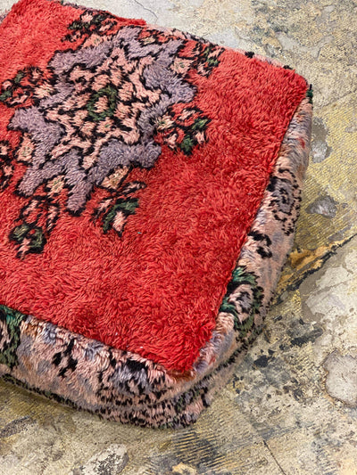 bohemian vintage ottoman, floor cushion, moroccan pouf, wool floor pillow, dog bed