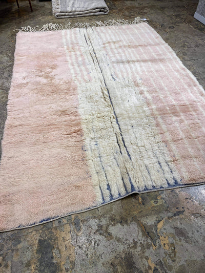 beige pink area rug wool beni ourain carpet