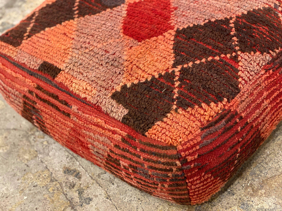brown vintage ottoman, floor cushion, moroccan pouf, wool floor pillow with geometric design