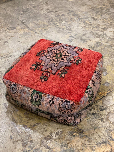red vintage ottoman, floor cushion, moroccan pouf, wool floor pillow, dog bed