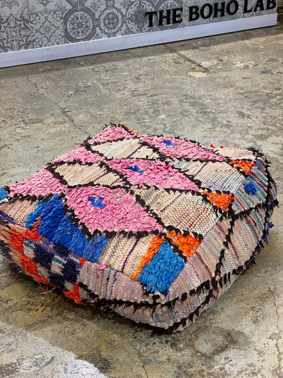 colorful vintage ottoman, floor cushion, moroccan pouf, cotton floor pillow, dog bed