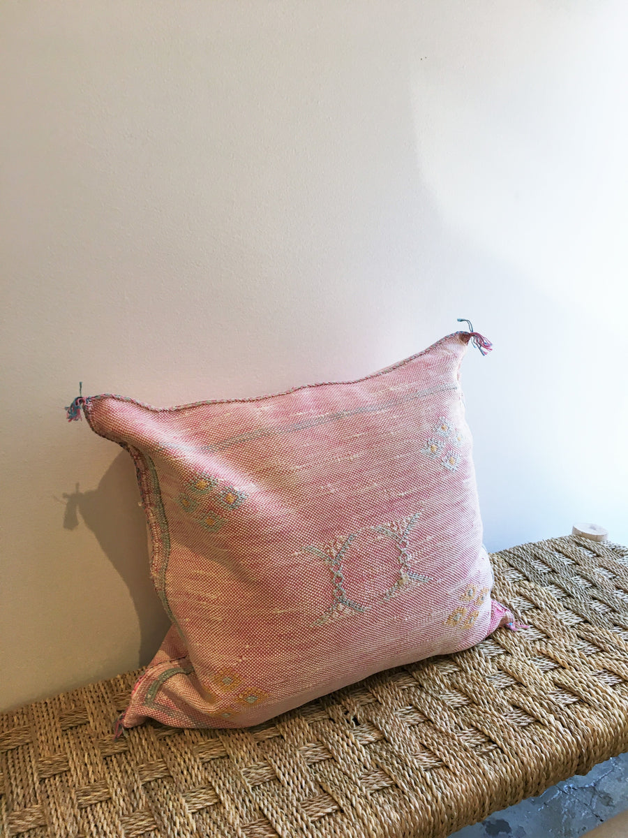 pink square cactus silk pillow with blue designs