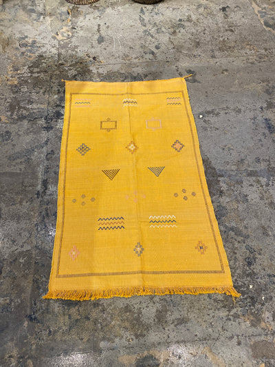 cactus silk rug, tribal design, vegan and eco friendly, very light casual and relaxed perfect for desert vibes, yellow with tassels