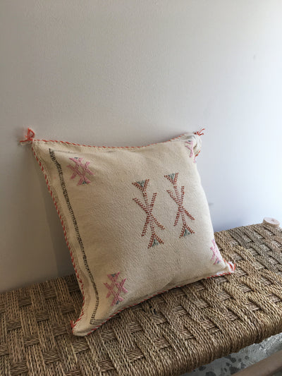 white square moroccan handmade cushion with red designs