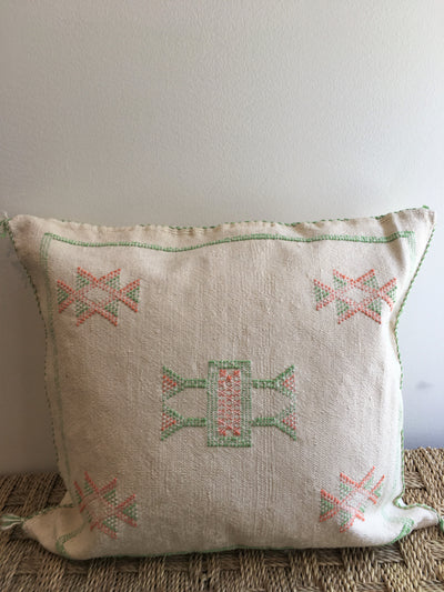 moroccan white square pillow with colorful details