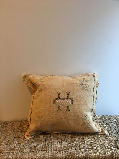 square yellow bohemian handmade cushion