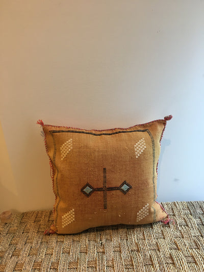square orange moroccan sabra silk pillow