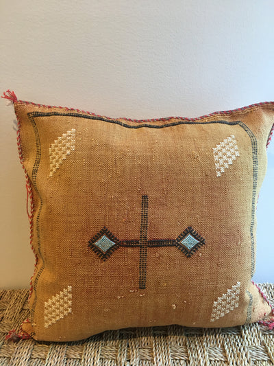 orange cactus silk pillow with black and beige design