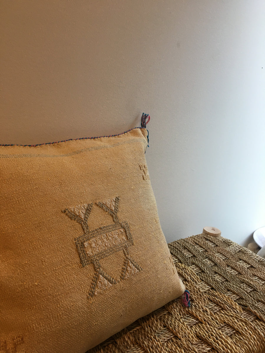 square yellow sabra bohemian cushion