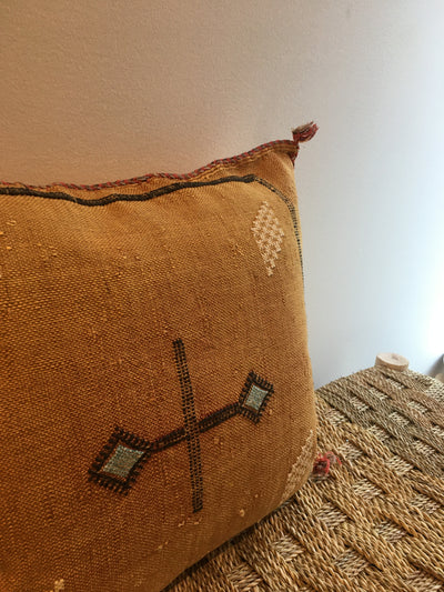 square orange moroccan handmade cushion