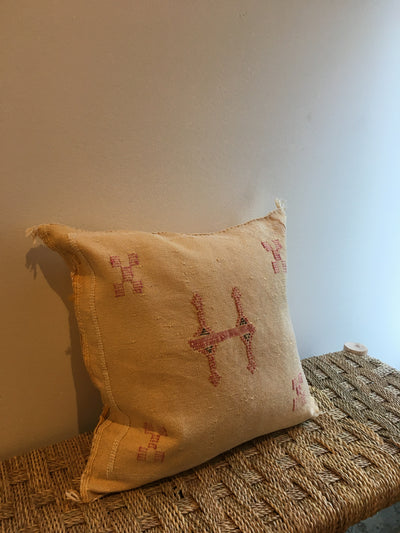 yellow square bohemian cushion with red details