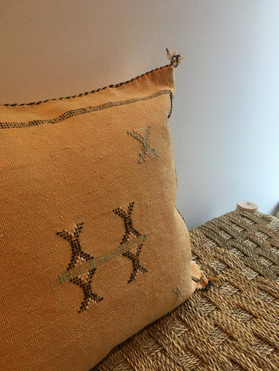 yellow square moroccan handwoven pillow