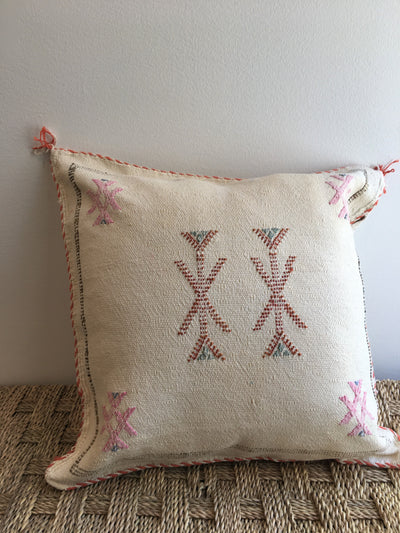 square off white moroccan decorative pillow