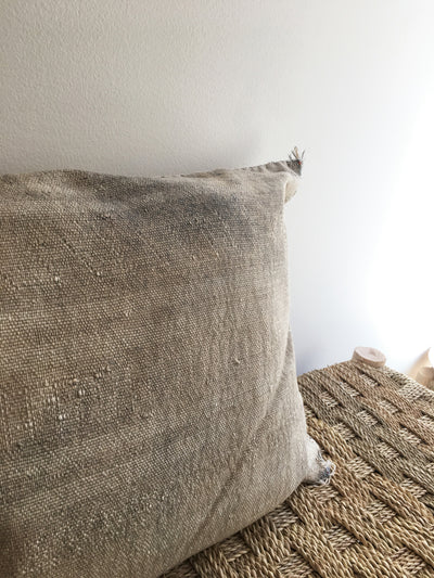square gray moroccan handmade pillow