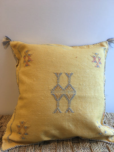 moroccan yellow square cushion