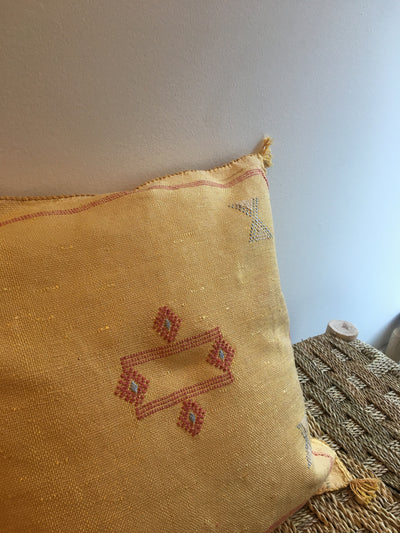 traditional handmade square yellow cushion