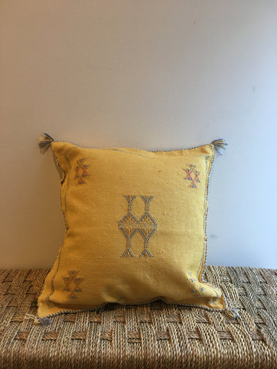 yellow cactus silk pillow with blue tribal designs