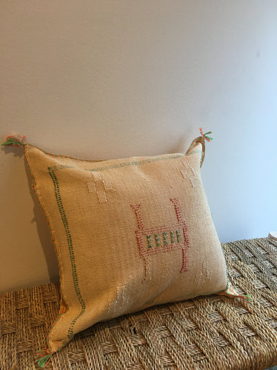 yellow square cactus silk cushion with red and green details