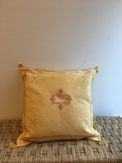 square yellow moroccan pillow