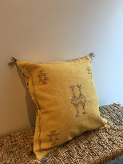 yellow sabra silk moroccan cushion