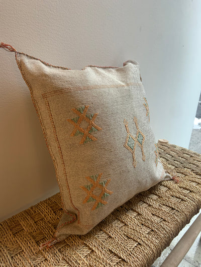 square gray cactus silk pillow