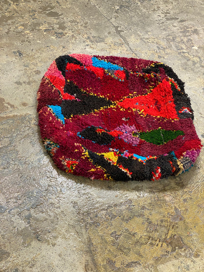 colorful vintage boucherouite stool
