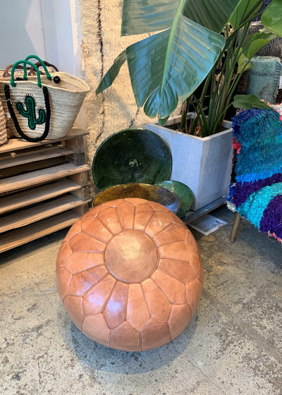 High Moroccan Leather Pouf | Tan