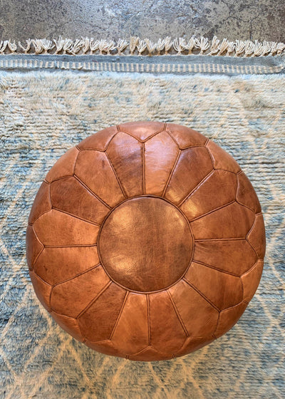 High Leather Ottoman Round Moroccan Handmade Pouf Tan