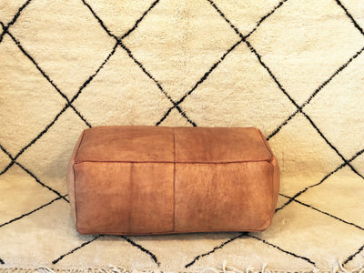 long leather ottoman square moroccan pouf New york