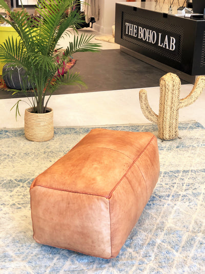 long leather ottoman square moroccan pouf Palm Spring