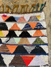 moroccan flat weave vintage rug with triangle pattern
