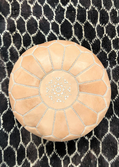 the boho lab nude moroccan pouf handmade in morocco available in montreal