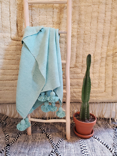 light green warm cotton blanket bedspread bedsheet bed throw blanket with pompoms