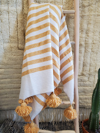 yellow stripes on white warm cotton blanket bedspread bedsheet bed throw blanket with pompoms